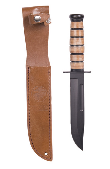 USMC COMBAT KNIFE WITH LEATHER SHEATH
